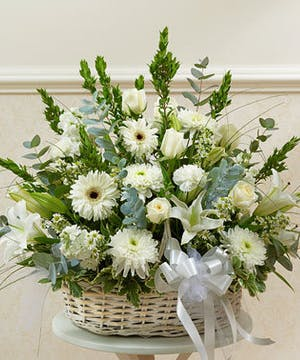 White Mixed Flowers in a Basket