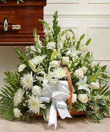White Mixed Flower Fireside Basket