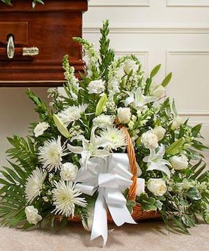 White Mixed Flower Fireside Basket