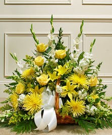 Yellow and White Mixed Flower Fireside Basket