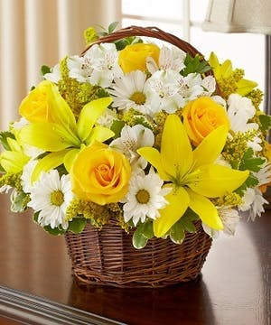 Yellow & White Mixed Flower Sympathy Arrangement in a Wicker Basket