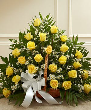 Yellow Roses in a Fireside Basket