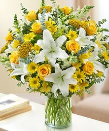 White yellow sympathy flowers funeral flowers veldkamps sincerest sorrow yellow white by 1 800 flowers mightylinksfo