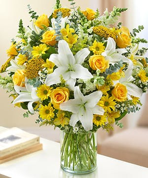 Yellow & White Mixed Flower Sympathy Arrangement in a Cylinder Vase