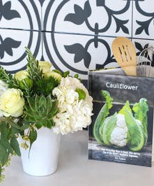 Modern White Rose & Hydrangea Bouquet